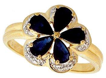 1002: 14KY 1.30cttw Sapphire pear Diamond flower ring: