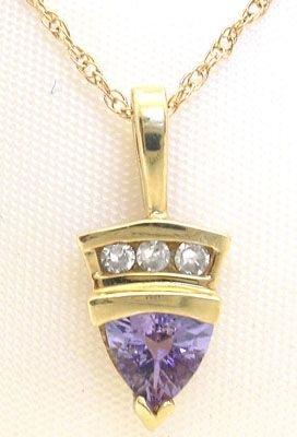1007: 10KY .50ct Tanzanite diamond pendant chain: 65991