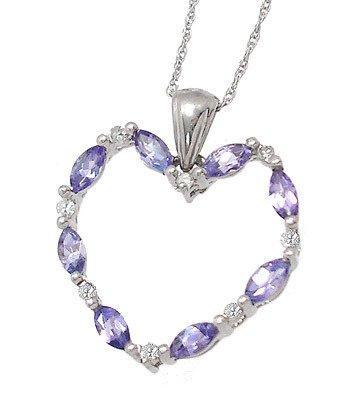 1008: 14KW .75cttw Tanzanite Diamond Heart pend/chain: