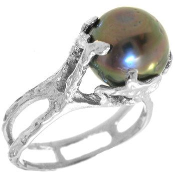 1010: 14KW 9mm Tahitian Pearl freeform ring: 653514