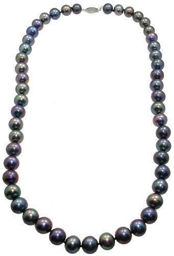 1012: 14KW 8.5/9.5mm black pearl necklace: 200907