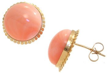 1014: 14KY 13mm Angelskin Coral round earrings: 635515