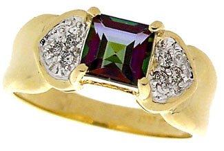 1017: 14KY 1.50ct Mystic topaz princess dia ring: 12265