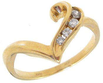 1018: 14KY .08ct diamond bagg chan heart ring: 659242