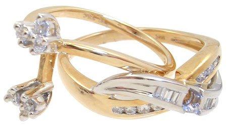 1019: 14YG .2cttw Diamond semi mount 2pc ring: 659801