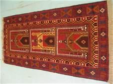 1046: Semi Antique Afghan Prayer Herati Rug 7x3: 4796