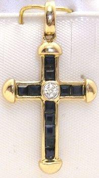 1276: 14KY Sapphire Diamond Cross Pendant: 659811