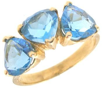 1281: 14KY 2cttw Electric Blue Topaz heart band ring: 6