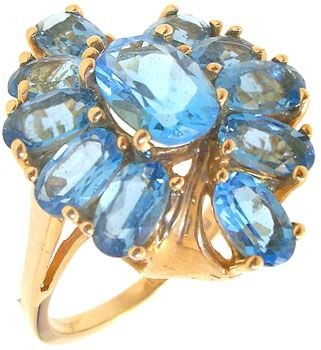 1283: 10KY 4cttw London Blue Topaz cluster ring: 635533