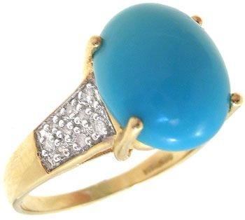 2284: 14KY 3ct Turquoise & Diamond ring: 500207