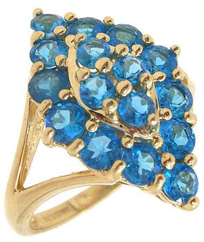 2286: 14KY 2cttw Apatite cluster marquise shape ring: 6