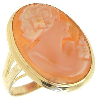 2289: 14KYG 18x13mm Handcarved Cameo Ring: 700512