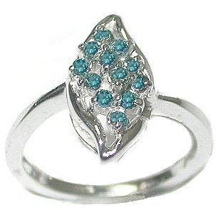 2291: 14KW 1/4Ctw Blue Diamond cluster ring: 840524