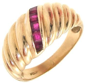 2294: 14KY Ruby channel Dome Ring: 841069