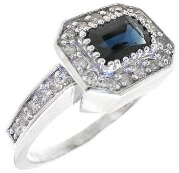 2296: 14KW 1.03ctw Blue Sapphire Diamond Ring: 738001