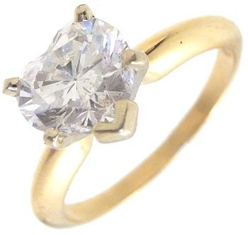 2413: 14KY 1.02ct Diamond Heart solitaire Ring: 635602