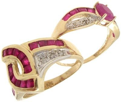 6260: 10KY BAGUETTE RUBY/DIAMOND RING: 840800: