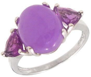 253: 14KW Lavender Jade Amethyst trillion ring
