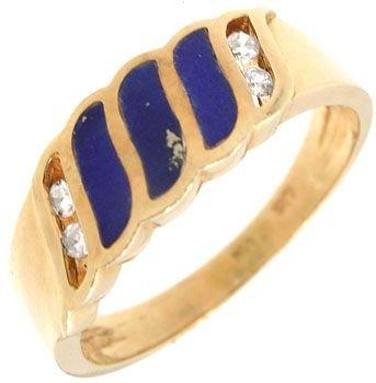 255: 14KY Lapis inlaid Diamond band ring