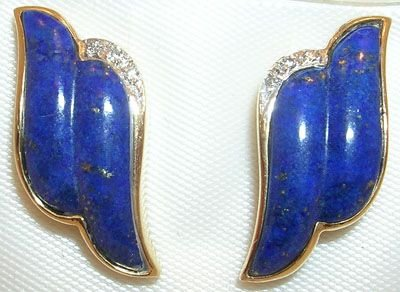 256: 14KY carved Lapis diamond earring