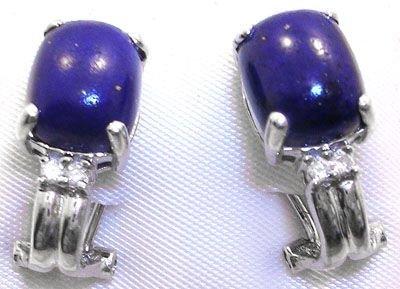 257: 14KW 8x10mm Lapis diamond omega earring
