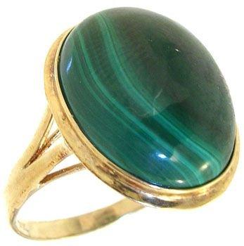 258: 14KY 12x16mm Malachite bezel ring
