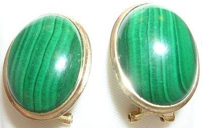 259: 14KY 12x16mm Malachite bezel earring