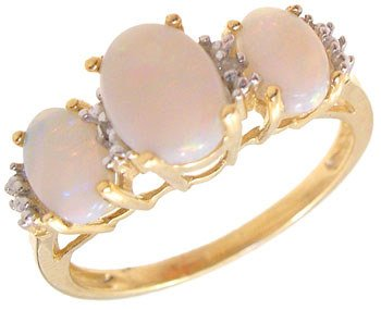260: 10KY .75cttw Opal oval dia band ring