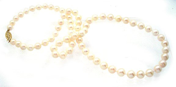 262: 14kt 6mm White Akoya Pearl necklace