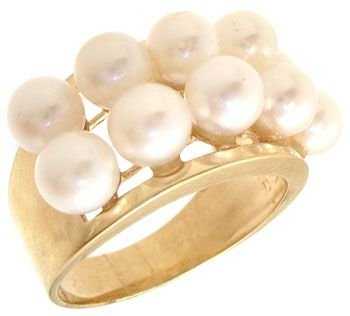 264: 14KY 4.5mm 10 pearl 2 row band ring