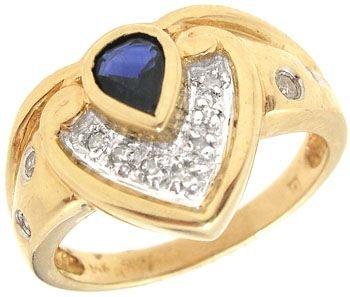 265: 14KY .85ct Sapphire pear .10Dia chevron ring