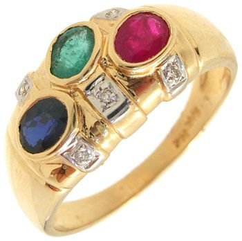 266: 14KY 1cttw Emerald Ruby Saphire Dia band ring