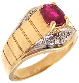 267: 14KY .65ct Ruby Dia two tone ring