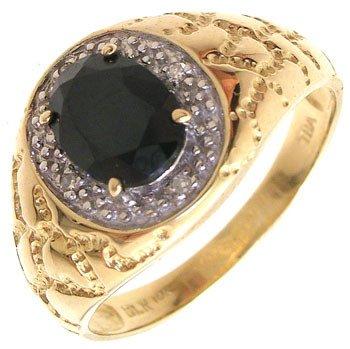 268: 10Ky 1ct black onyx oval dia mans ring