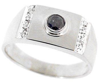 269: 14WG .30ct black white diamond mans ring