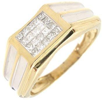 271: 14KY .25ctw Diamond mans princess band ring