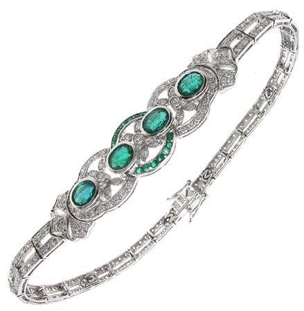 416: 14KW 2.37cttw Emerald & Diamond Bracelet