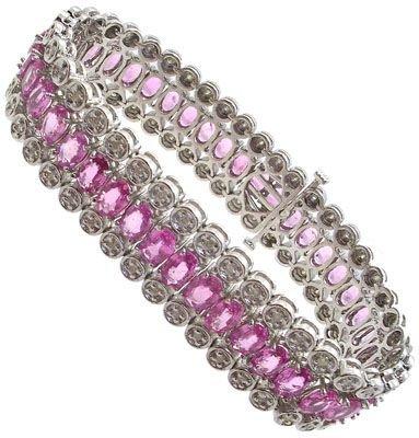 438: 14WG 22.31cttw Pink Sapphire diamond bracelet