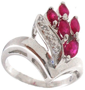 1252: 18KW .50cttw Ruby diamond marquise ring: 652007