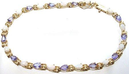 1259: 10KY 3cttw Opal & Tanzanite pear bracelet: 659831