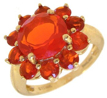 1260: 14KY 5cttw Mexican Fire Opal round ring: 789850