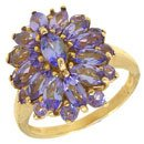 1264: 14KYG 2cttw Tanzanite Marquise Cluster ring: 6535