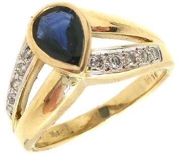 2251: 14KY 1ct Sapphire oval bezel ring w. Diamond: 652