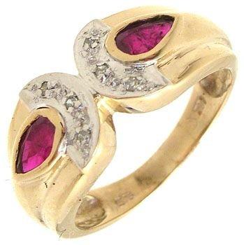 2252: 14KY .50cttw Ruby oval bezel ring w. Diamonds: 65
