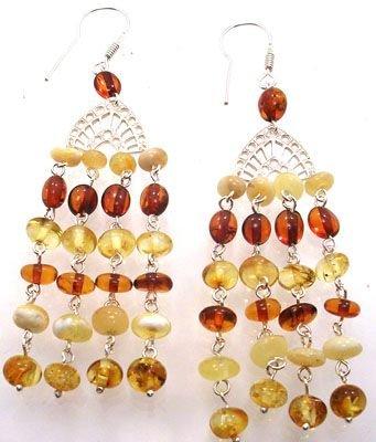 2254: Sterling tri color Amber fan chandelier earr: 652