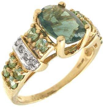 2256: 10KY 1ct Emerald Tsavorite diamond band ring: 659