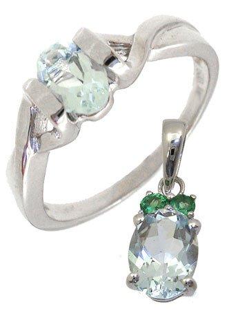 2259: WG Gift Set 1.20ctw Aquamarine Ring & Pendant: 12