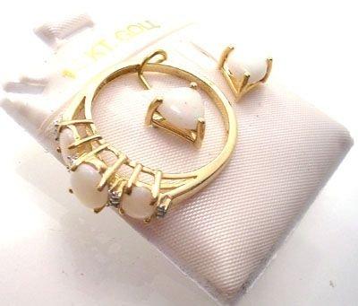 2260: Gift Set! 2.25ctw Opal 10k Ring & 14k Earrings: s