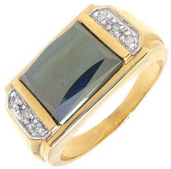 2264: 10KY Hematite Diamond mans ring: 659856
