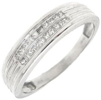 2266: 10KW .16ctw Diamond princess mans band ring: 9630